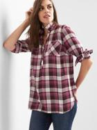 Gap Women Plaid Twill Convertible Shirt - Pink Plaid