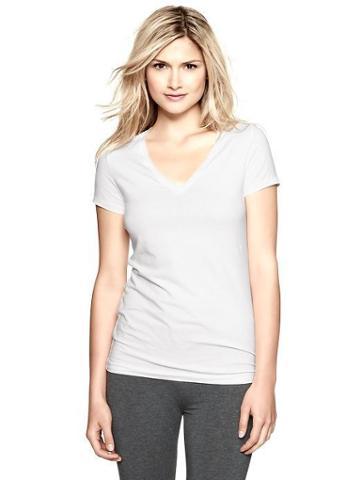 Gap Womens White Pure Body V Neck Shirt - White