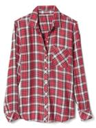 Gap Women Plaid Drapey Shirt - Red Plaid