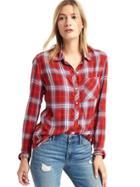 Gap Women Soft Flannel Plaid Shirt - Red Plaid