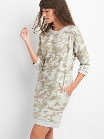Gap Camo Three Quarter Sleeve Dress - Grey Camo