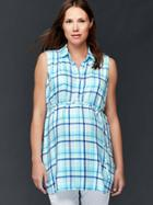 Gap Plaid Tie Belt Shirt - Light Blue Plaid