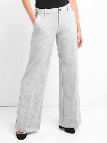 Gap Women Wide Leg Trousers - Light Heather Grey