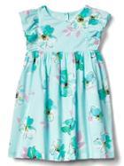 Gap Floral Flutter Dress - Blue Floral Print