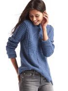 Gap Women Mix Knit Mockneck Sweater - Blue