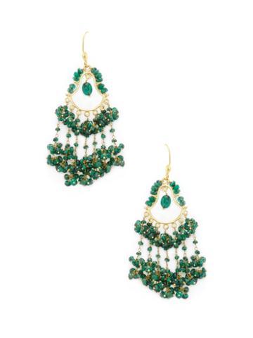 Karma Jewels 18k Yellow Gold & Green Sapphire Chandelier Earrings