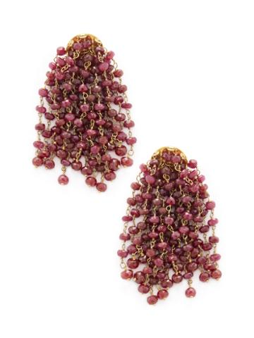 Karma Jewels 18k Yellow Gold & Ruby Tassel Earrings