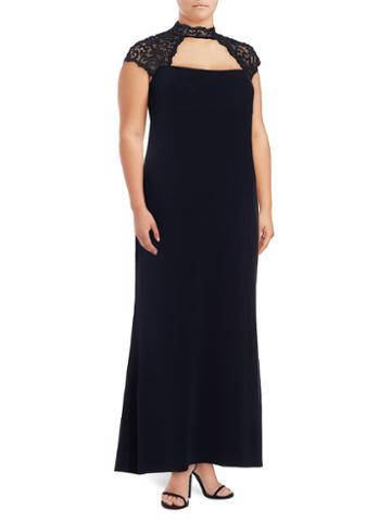 Marina, Plus Size Solid Lace Yoke Dress