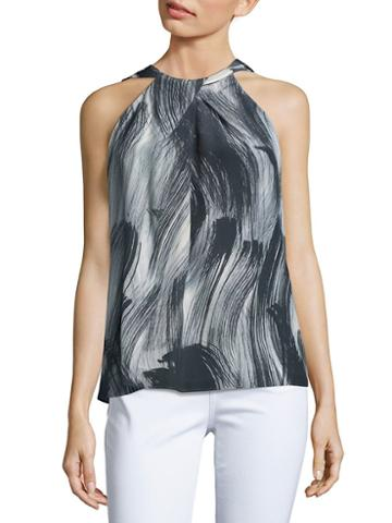 Lafayette 148 New York Printed Silk Blouse