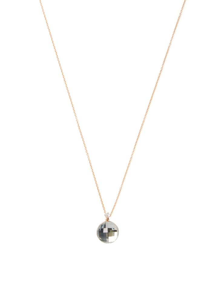 Roberto Coin 18k Rose Gold, Green Amethyst & 0.05 Total Ct. Diamond Pendant Necklace