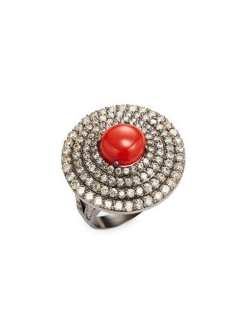 Arthur Marder Fine Jewelry Coral & Diamond Dome Ring