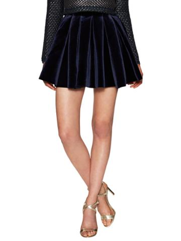 Maje Velvet Pleated Mini Skirt
