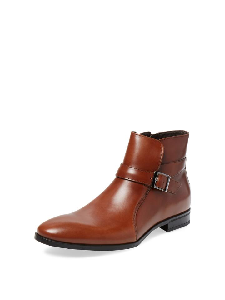 A.testoni Buckle Leather Ankle Boot