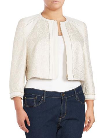 Basler, Plus Size Long-sleeve Zippered Jacket