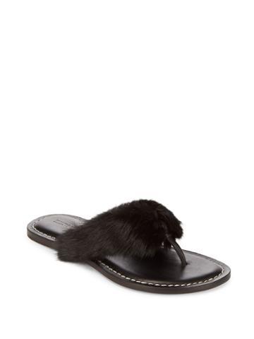 Bernardo Leather & Rabbit Fur Flip Flops