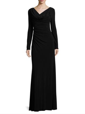 Vera Wang Jersey Draped Front Column Gown
