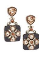 Heidi Daus Black Deco Crystal Drop Earrings