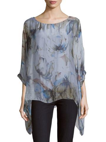 Le Marais Asymmetric Floral-print Silk Top