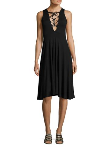 Rachel Pally Kaili Solid Lace Up Flared Dress