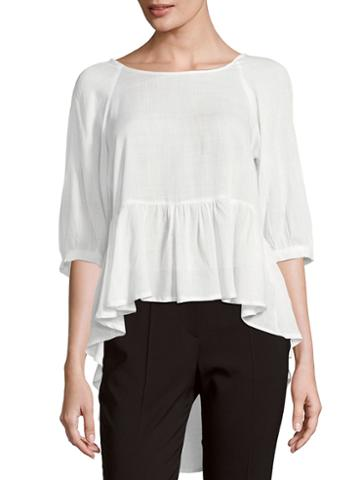 French Connection Ruffled Slub Top