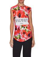 Balmain Printed Logo Front Sleeveless Top