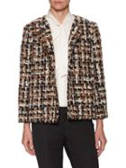 Dolce & Gabbana Tweed Collarless Lapel Blazer