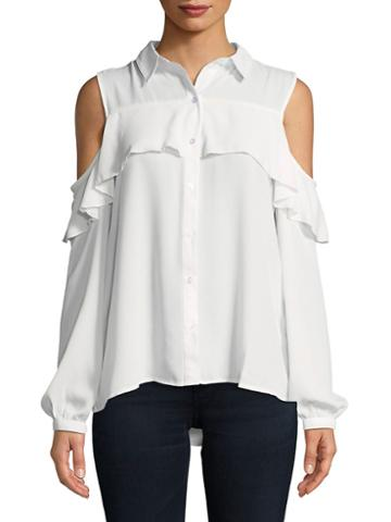 Jordan Alexander Frilled Cold-shoulder Button-down Shirt