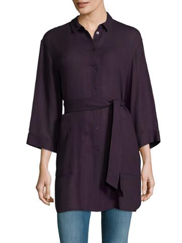 Lafayette 148 New York Melody Solid Wool-blend Blouse