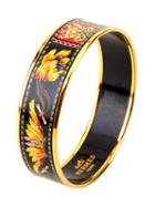 Herms Black & Gold Enamel Feathers Wide Bangle