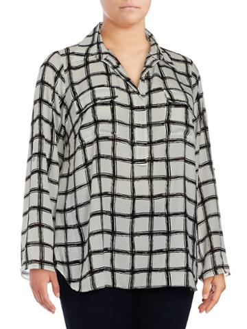 Max Studio Windowpane Long-sleeve Blouse