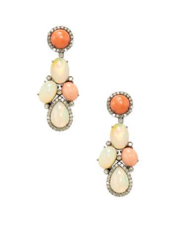 Arthur Marder Fine Jewelry Coral, Opal & Diamond Earrings