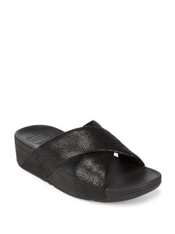 Fitflop Swoop Slide Leather Flip Flops