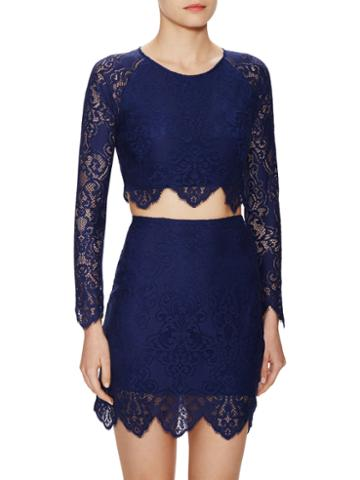 For Love And Lemons Midnight Lace Crop Top