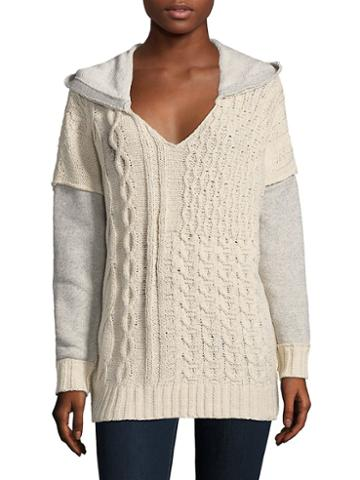 Solutions Knit Combo Hooded Sweater