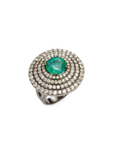 Arthur Marder Fine Jewelry Emerald & Diamond Dome Ring