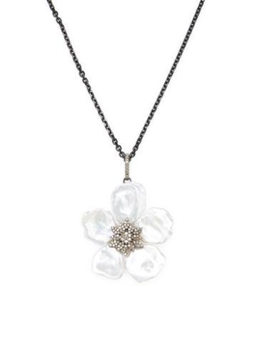 Arthur Marder Fine Jewelry Leaf Pearl Necklace With Diamonds