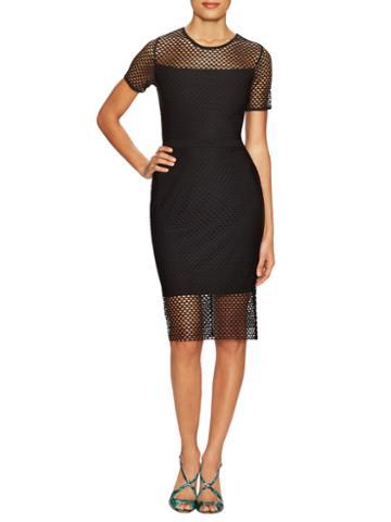Cynthia Steffe Lily Short Sleeve Mesh Midi Dress