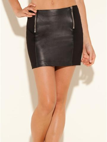 Guess Double Zip Pull-on Leather Miniskirt, Jet Black (8)