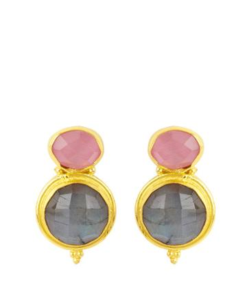 Henri Bendel Elle Gemz Double Drop Circular Stud Earring
