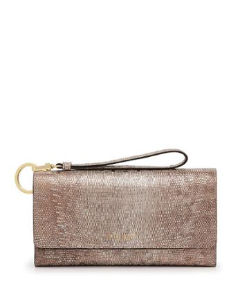 Henri Bendel Uptown Out And About Lizard Embossed Organizer Wallet