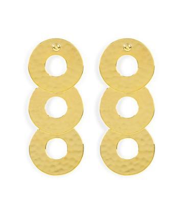 Henri Bendel Hammered Disc Linear Earring