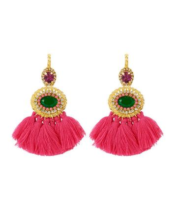 Henri Bendel Stella & Ruby Oval Gemstone & Tassel Earring