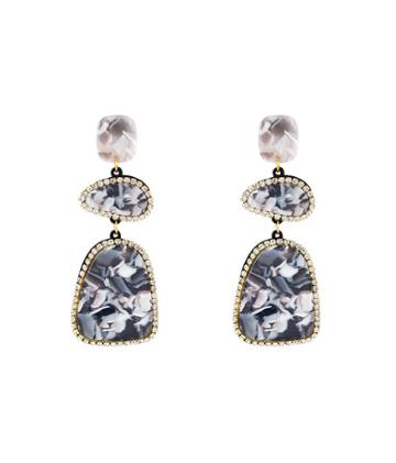 Henri Bendel Leslie Danzis Resin Inlay Triple Drop Earring