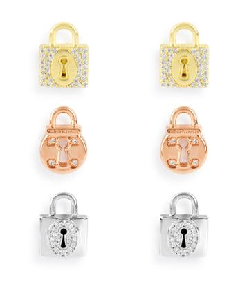 Henri Bendel Love Lock Stud Earring Set