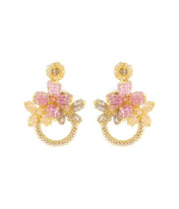 Henri Bendel Lavish Beaded Flower Hoop Earring