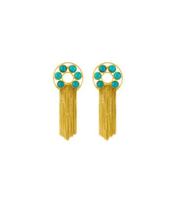 Henri Bendel Elle Gemz Turquoise Fringe Earring