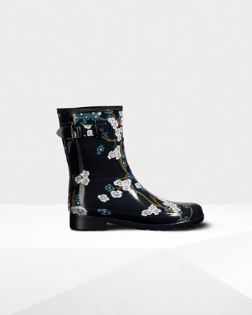 Women's Refined Blossom Print Short Rain Boots