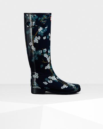 Women's Refined Blossom Print Tall Rain Boots