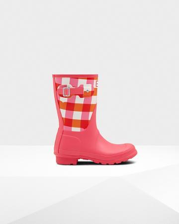 Women's Original Short Gingham Print Rain Boots