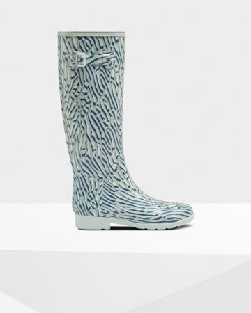 Women's Refined Slim Fit Coral Print Tall Rain Boots